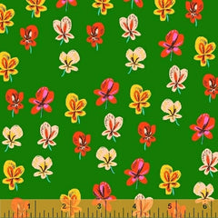 Sleeping Porch Colorful Flowers in Green from Sleeping Porch by Heather Ross for Windham