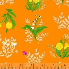 Sleeping Porch Wild Flowers in Orange from Sleeping Porch by Heather Ross for Windham