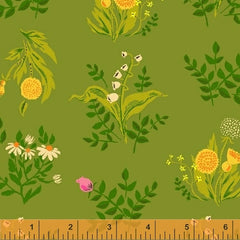 Sleeping Porch Wild Flowers in Light Green from Sleeping Porch by Heather Ross for Windham