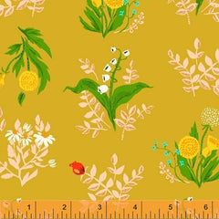 Sleeping Porch Wild Flowers in Saffron from Sleeping Porch by Heather Ross for Windham
