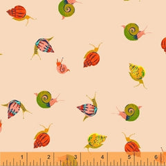 Sleeping Porch Snails in Peach from Sleeping Porch by Heather Ross for Windham