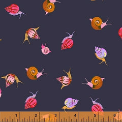 Sleeping Porch Snails in Dark Blue from Sleeping Porch by Heather Ross for Windham