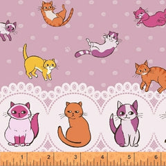 Caturday Raining Cats Double Border in Rose from Caturday by Felice Regina for Windham Fabrics