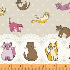 Caturday Raining Cats Double Border in Tan from Caturday by Felice Regina for Windham Fabrics