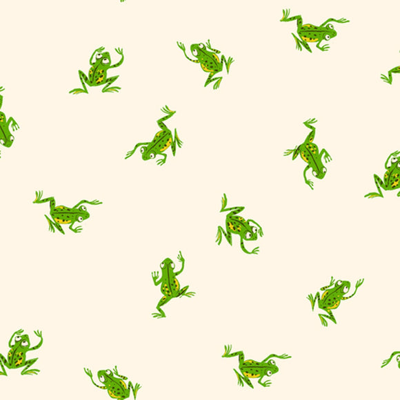 Heather Ross 20th Anniversary Frogs in White