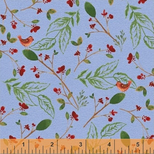 50101-2 A Walk in the Woods Birds & Leaves in Blue by Whistler Studios for Windham Fabrics at Pink Castle Fabrics
