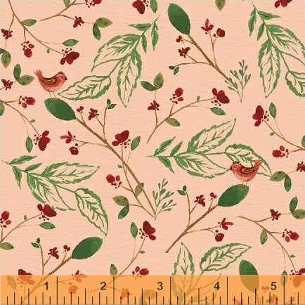 50101-3 A Walk in the Woods Birds & Leaves in Blush by Whistler Studios for Windham Fabrics at Pink Castle Fabrics
