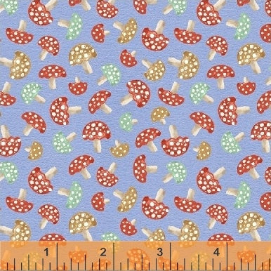 50102-2 A Walk in the Woods Mushrooms in Blue by Whistler Studios for Windham Fabrics at Pink Castle Fabrics