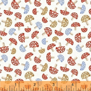 50102-4 A Walk in the Woods Mushrooms in White by Whistler Studios for Windham Fabrics at Pink Castle Fabrics
