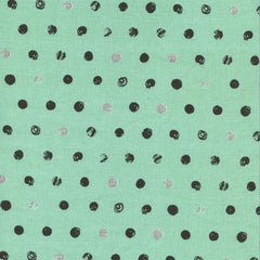 Skull Dot in Metallic Mint from Spellbound by Sarah Watts for Cotton+Steel