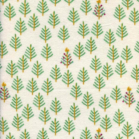 Christmas Forest Brushed Cotton in White