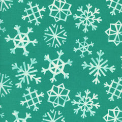 Garland Snowflakes in Teal from Garland by Rashida Coleman-Hale for Cotton Steel