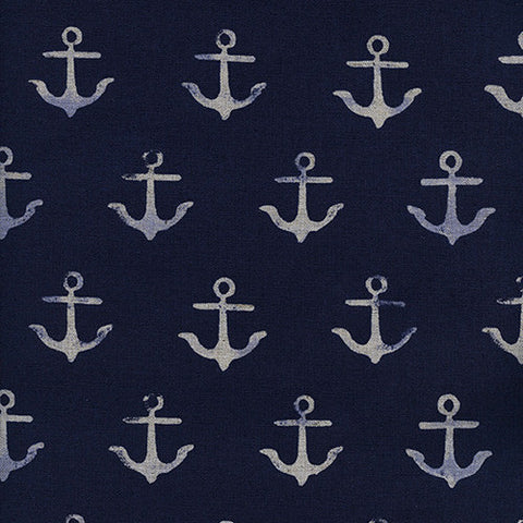 S. S. Bluebird Anchor Linen in Navy