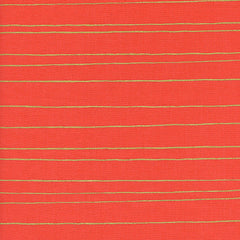 Noel Gold Stripe in Red Metallic from Noel by Melody Miller for Cotton+Steel