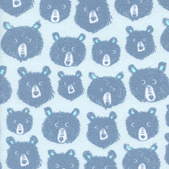 Cozy Teddy and The Bears Brushed Cotton in Blue from Cozy by Sarah Watts for Cotton+Steel