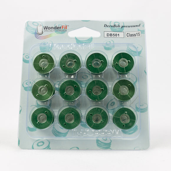 DBP15-501 Wonderfil DecoBob 80wt Prewound Class 15 Bobbins in Evergreen - 12 pack from Wonderfil Speciality Threads at Pink Castle Fabrics