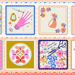 Beauty Shop Hankie Panel in Peach from Beauty Shop by Sarah Watts for Cotton+Steel