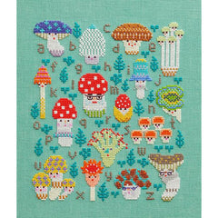 Mushroom Family Sampler- Linen Cross Stitch Kit for The Frosted Pumpkin Stitchery