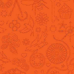 A-9256-O Sun Print 2020 Embroidery in Pumpkin by Alison Glass for Andover Fabrics from Pink Castle Fabrics