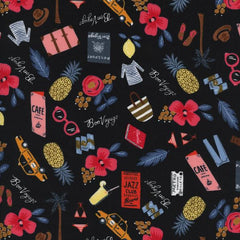 Les Fleurs Bon Voyage Metallic in Black from Les Fleurs by Rifle Paper Company for Cotton+Steel