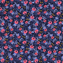 Les Fleurs Rosa in Navy from Les Fleurs by Rifle Paper Company for Cotton+Steel