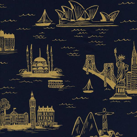 Les Fleurs City Toile Metallic Lawn in Navy