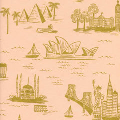 Les Fleurs City Toile Metallic Lawn in Peach from Les Fleurs by Rifle Paper Company for Cotton+Steel
