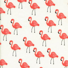 Les Fleurs Flamingos Lawn in Ivory from Les Fleurs by Rifle Paper Company for Cotton+Steel