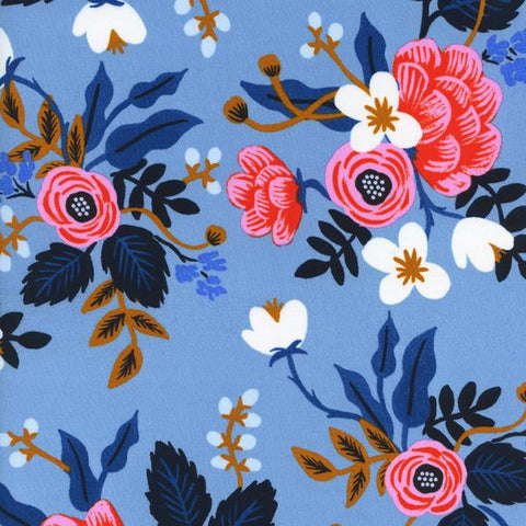 Les Fleurs Birch Floral Rayon in Periwinkle
