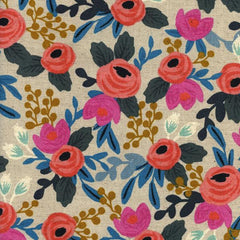 Les Fleurs Rosa Floral Canvas in Natural from Les Fleurs by Rifle Paper Company for Cotton+Steel