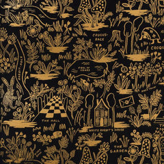 Wonderland Magic Forest in Midnight Metallic from Wonderland by Rifle Paper Company for Cotton+Steel