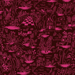 Wonderland Magic Forest Rayon in Ruby from Wonderland by Rifle Paper Company for Cotton+Steel