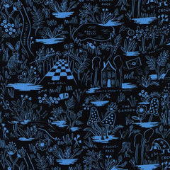 Wonderland Magic Forest Rayon in Blue from Wonderland by Rifle Paper Company for Cotton+Steel
