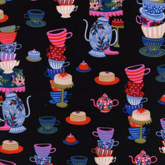 Wonderland Mad Tea Party in Black from Wonderland by Rifle Paper Company for Cotton+Steel
