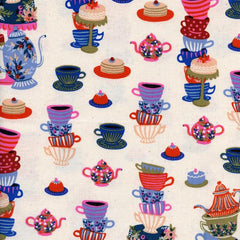 Wonderland Mad Tea Party in Neutral from Wonderland by Rifle Paper Company for Cotton+Steel