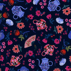 Wonderland Garden Party in Navy from Wonderland by Rifle Paper Company for Cotton+Steel