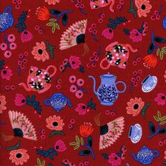 Wonderland Garden Party in Crimson from Wonderland by Rifle Paper Company for Cotton+Steel