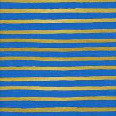 Wonderland Cheshire Stripe in Cobalt Metallic from Wonderland by Rifle Paper Company for Cotton+Steel