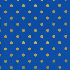 Wonderland Caterpillar Dot in Cobalt Metallic from Wonderland by Rifle Paper Company for Cotton+Steel