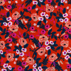 Wonderland Painted Rose Rayon in Orange from Wonderland by Rifle Paper Company for Cotton+Steel