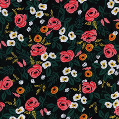 Wonderland Painted Rose Rayon in Black from Wonderland by Rifle Paper Company for Cotton+Steel