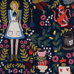 Wonderland Main Linen in Navy Metallic from Wonderland by Rifle Paper Company for Cotton+Steel