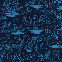 Wonderland Magic Forest Linen in Navy from Wonderland by Rifle Paper Company for Cotton+Steel