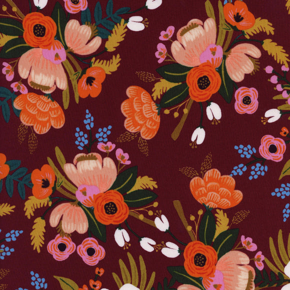 Amalfi Lively Floral Rayon in Burgundy