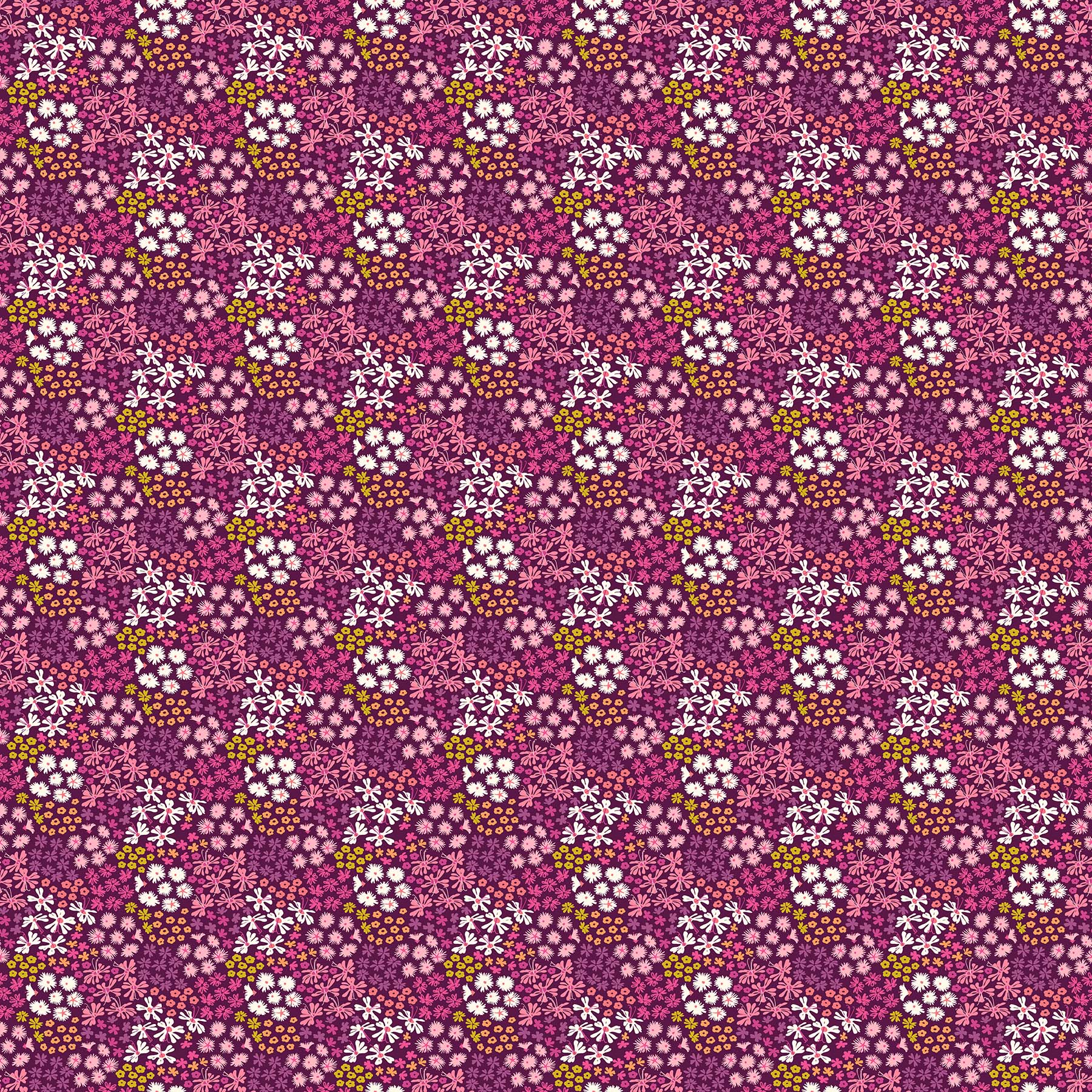 Mountain Meadow Flower Bunches In Violet From Mountain Meadow By