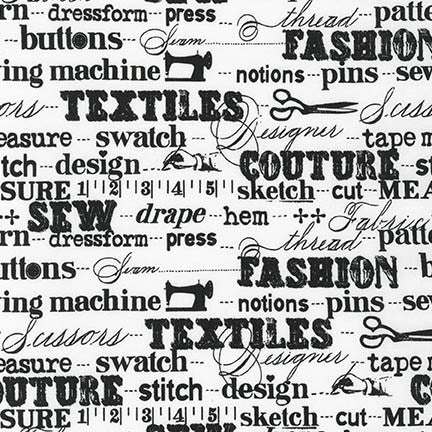 Sewing Terms in White