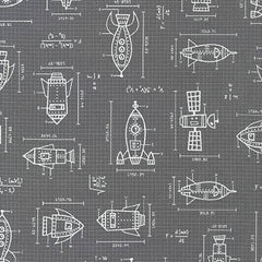 Spaced Out Ships in Grey from Spaced Out by Caleb Gray for Robert Kaufman