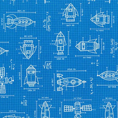 Spaced Out Ships in Blue from Spaced Out by Caleb Gray for Robert Kaufman