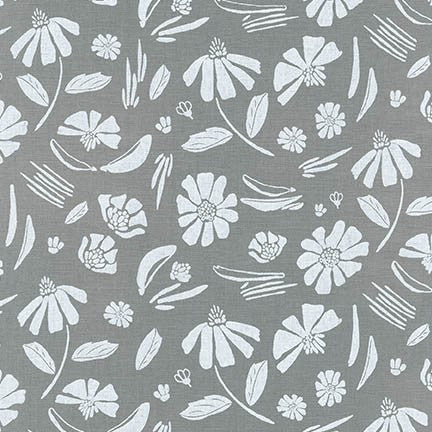 Forage Floral Essex Linen in Steel