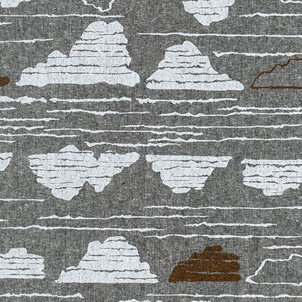 AFH-19015-2 BLACK Driftless River Rock in Black by Anna Graham for Robert Kaufman Fabrics at Pink Castle Fabrics